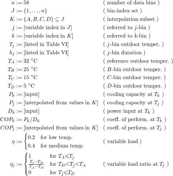 \begin{align*} n       &:= 58                                          && \text{( number of data bins                  )}\\% J       &:= \{1,\ldots,n\}                              && \text{( bin-index set                        )}\\% K       &:= \{A,B,C,D\}\subseteq J                      && \text{( interpolation subset                 )}\\% j       &:= \text{[variable index in $J$]}              && \text{( referred to $j$-bin                  )}\\% k       &:= \text{[variable index in $K$]}              && \text{( referred to $k$-bin                  )}\\% T_j     &:= \text{[listed in Table VI]}                 && \text{( $j$-bin outdoor temper.$ $           )}\\% h_j     &:= \text{[listed in Table VI]}                 && \text{( $j$-bin duration                     )}\\% T_A     &:= 32\ {}^\circ\text{C}                        && \text{( reference outdoor temper.$ $         )}\\% T_B     &:= 25\ {}^\circ\text{C}                        && \text{( $B$-bin outdoor temper.$ $           )}\\% T_C     &:= 15\ {}^\circ\text{C}                        && \text{( $C$-bin outdoor temper.$ $           )}\\% T_D     &:=  5\ {}^\circ\text{C}                        && \text{( $D$-bin outdoor temper.$ $           )}\\% P_k     &:= \text{[input]}                              && \text{( cooling capacity at $T_k$            )}\\% P_j     &:= \text{[interpolated from values in $K$]}    && \text{( cooling capacity at $T_j$            )}\\% D_k     &:= \text{[input]}                              && \text{( power input      at $T_k$            )}\\% COP_k   &:= P_k/D_k                                     && \text{( coeff.$ $ of perform.$ $ at $T_k$    )}\\% COP_j   &:= \text{[interpolated from values in $K$]}    && \text{( coeff.$ $ of perform.$ $ at $T_j$    )}\\% \eta    &:= \begin{cases}% 0.2 &\text{for low temp.}   \\% 0.4 &\text{for medium temp.}  % \end{cases}                                 && \text{( variable load                        )}\\% \eta_j  &:= \begin{cases}% 1        